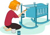 Illustration of a Mother Applying Blue Paint on Her Baby's Crib
