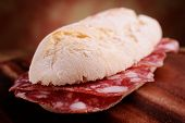 french bread sandwitch with salami