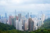Panorama of futuristic city Hong Kong