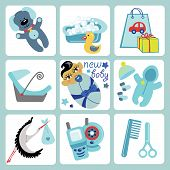 Cute Cartoons Icons For Asian Baby Boy.newborn Set