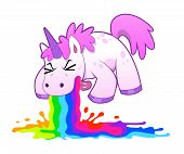 stock photo of puke  - Pink funny unicorn pukes liquid rainbow - JPG