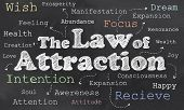pic of laws-of-attraction  - Law of Attraction on Blackboard with Words - JPG