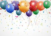 pic of helium  - Illustration of New Birthday celebration with balloon and ribbon - JPG