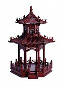 Close Up of Wooden Sculpted Oriental Structure Design