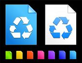 Recycle Icons on Colorful Paper Document Collection