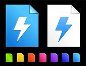 Lightning Icons on Colorful Paper Document Collection
