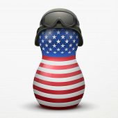 Russian matrioshka in military helmets and U.S. flag color.