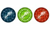 Set Of Three Colored Icons With Magnifier