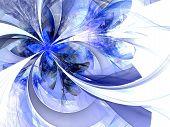 Symmetrical Blue Fractal Flower, Digital Artwork