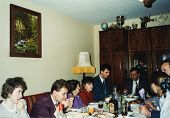 LODZ, POLAND CIRCA 1970's: Vintage photo of people enjoying a family party