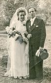 LODZ, POLAND, CIRCA 1930's: Vintage photo of newlyweds