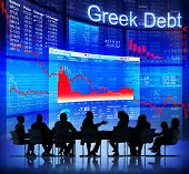Group of Business People Discussing About Greek's Red Business Crisis