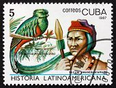Postage Stamp Cuba 1987 Quetzal And Tecum Uman Indian