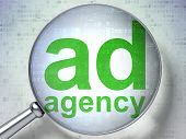 Marketing concept: Ad Agency with optical glass