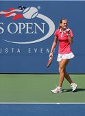 US Open 2014 girls junior champion Marie Bouzkova from Czech Republic during final match