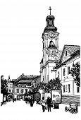 image of zakarpattia  - digital sketch vector black and white illustration of Uzhgorod cityscape - JPG