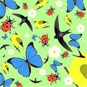 Pattern With Flowers, Butterfly, Ladybird