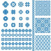 Borders and decoration elements patterns in blue and white colors huge set