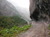 Trekking Path Blasted Out Of A Mountain Cliff