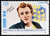 EQUATORIAL GUINEA - CIRCA 1996: A Stamp printed in Guinea dedicated to cinema shows James Dean