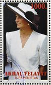 TURKMENISTAN - CIRCA 1997: stamp printed in Turkmenistan shows Diana Princess of Wales Lady Di