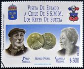 CHILE - CIRCA 1996: A stamp printed in Chile dedicated to visit of the kings of Sweden