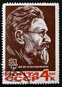 RUSSIA - CIRCA 1965: stamp printed in Russia shows Mikhail Kalinin, USSR President, circa 1965