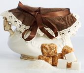 Vintage Sugar Bowl With Pieces Of White And Brown Sugar