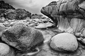 Beautiful Landscpae Of Porth Nanven Beach Cornwall England Black And White