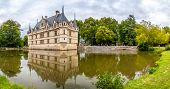 Panorama View At Chateau Azay Le Rideau With Moat