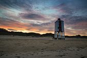 Beautiful Landscape Sunrise Stilt Lighthouse On Beach