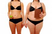 stock photo of flabby  - Comparing two types of diet - JPG