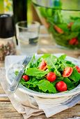 stock photo of rocket salad  - Rustic Style Rocket (Arugula) and Cherry Tomato Salad copy space for your text