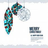 Christmas card with christmas balls composed of shards.