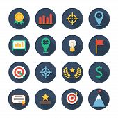 Business and finance infographic design elements. Set of vector target icons. Illustration in flat s