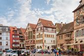Colmar, France - 18 August, 2014: old town street. Colmar is the most popular tourist destination in France, founded in the 9th century.