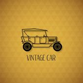 Retro cabriolet car, vintage outline style