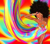 Sexy woman with afro haircut is dancing disco
