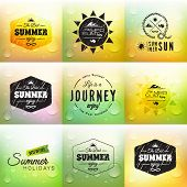 Retro summer label set in doodle sketch style isolated on glass background with rain drop
