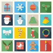 image of sweet sixteen  - Set of sixteen colorful Christmas icons - JPG