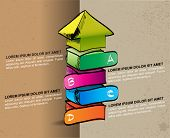 Hand-drawn colored up arrow with four steps ABCD on the grunge background