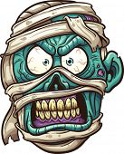 Angry mummy face. Vector clip art illustration with simple gradients. All in a single layer.