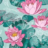 Seamless floral background with blooming water lilies