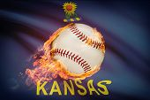 Baseball Ball With Flag On Background Series - Kansas