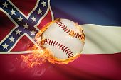 Baseball Ball With Flag On Background Series - Mississippi