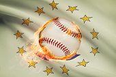 Baseball Ball With Flag On Background Series - Rhode Island