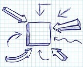 Arrows and frames sketchy elements. Vector
