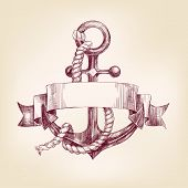 stock photo of anchor  - anchor with a banner hand drawn vector llustration realistic sketch - JPG