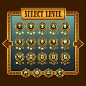 image of steampunk  - Game steampunk level selection icons ui buttons - JPG