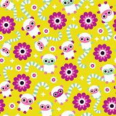 Seamless retro kids little lemurs monkey illustration colorful background pattern in vector
